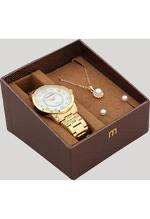 Kit De Relógio Analógico Mondaine Feminino + Brinco + Colar - 83436Lpmvde1Kb Dourado - Único