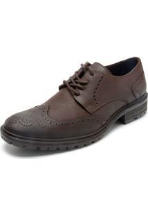 Sapato Couro Ellus Brogue Marrom
