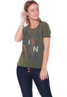 Camiseta Studio 21 Fashion Girl On Fire - Feminino-Verde Militar