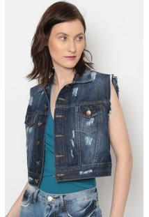 Colete Jeans Com PuãDos- Azul Escuro- Pacificpacific Blue