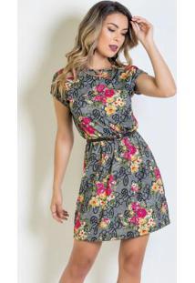 4c034f42c Posthaus. Vestido Curto Floral Com Elástico Na Cintura