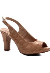 Peep Toe Shoestock Meia Pata Croco Feminina - Feminino-Nude
