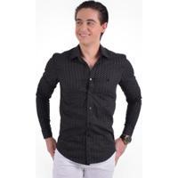 Camisa Social Estampada Masculina Slim - Masculino-Preto b5a8ded9525