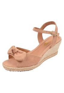 Sandália Anabela Uzze Sapatos Com Laço Blush