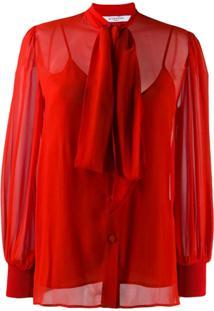 Givenchy Pussy-Bow Blouse - Vermelho
