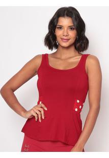 Blusa Com Amarração & Recortes - Vermelha & Branca -Thipton