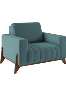 Poltrona Decorativa Sala De Estar E Recepção Verônica Base Madeira Veludo Azul Tiffany - Gran Belo