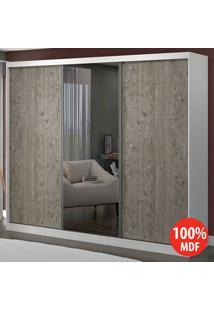 Guarda Roupa 3 Portas Com 1 Espelho 100% Mdf 1904E1 Branco/Demolição - Foscarini