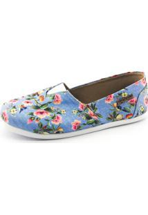 Alpargata Quality Shoes 001 Floral 797 Azul - Kanui