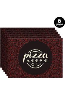 Kit 6Pçs Jogo Americano Mdecor Pizza 40X28Cm Marrom