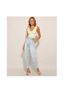 Calça Clochard Jeans Cintura Super Alta Com Cinto Azul Claro