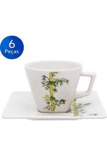 Conjunto De Xícaras De Chá Com Pires 6 Peças Quartier Bamboo - Oxford Branco