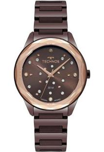 Relógio Technos Elegance Crystal 2036Mkj/4M 38Mm Aço Feminino - Feminino-Marrom