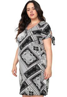Vestido Rovitex Plus Curto Estampado Off-White/Preto