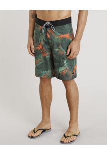 Bermuda Surf Masculina Água De Coco Estampada Palmeira Verde Escuro