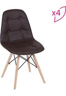 Jogo De Cadeiras Eames Botonãª- Cafã© & Bege Claro- 4Por Design