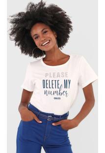 Camiseta Colcci Aplicação Lettering Off-White