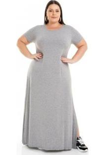 Vestido Viscolycra Longo Com Fendas Miss Masy Plus Size Feminino - Feminino-Cinza