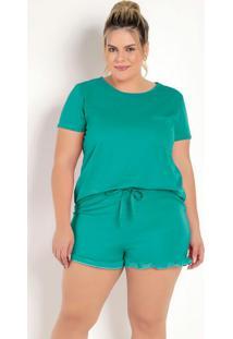 Pijama Curto Verde Com Babado