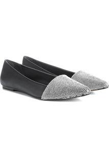 Sapatilha Couro Shoestock Bico Fino Cristal Feminina - Feminino