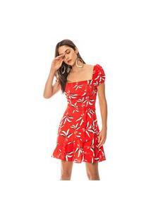 Vestido Morena Rosa Curto Decote Quadrado Com Faixa Vermelho