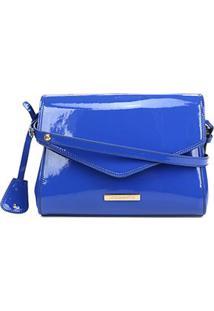 Bolsa Loucos & Santos Flap Verniz Soft Feminina - Feminino-Azul