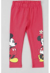 Calça Legging Infantil Mickey E Minnie Vermelha
