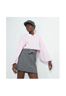 Blusa Cropped Em Algodão Com Manga Bufante E Gola Camisa