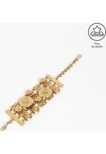 "Bracelete Metálico & Geométrico ""Versace®"" - Douradoversace"