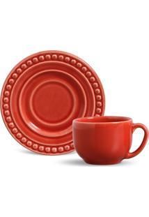 Xícara De Chá Atenas Cerâmica 6 Peças Vermelho Porto Brasil