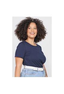 Camiseta Basicamente. Plus Size Lisa Azul-Marinho