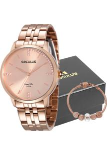 Kit Relógio Seculus Feminino Com Pulseira 28812Lpsvra2K1
