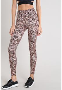 Calça Legging Feminina Esportiva Ace Estampada Animal Print Com Proteção Uv50+ Bege