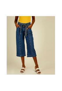 Calça Jeans Feminina Pantacourt Cintura Alta Marisa