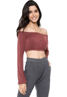 Blusa Cropped Hurley Icon Top Marrom
