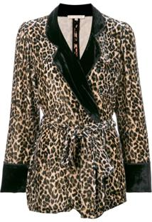 Gold Hawk Blazer Aveludado Com Estampa De Leopardo - Marrom