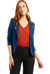 Blazer Malha Mx Fashion Pandora Azul Marinho
