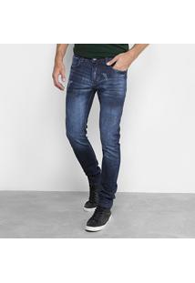 Calça Jeans Reta Preston Escuro Masculina - Masculino-Azul