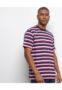 Camiseta Aleatory Listrada Fio Tinto Masculina - Masculino-Marinho+Pink