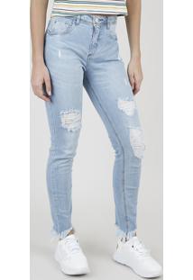 Calça Jeans Feminina Skinny Cintura Média Com Rasgos Azul Claro