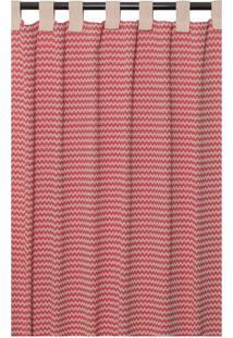 Cortina Campestre Para Varão Vermelha E Bege (180X300)