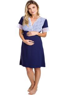 Camisola Gestante Inspirate Azul Marinho Com Renda Azul Marinho
