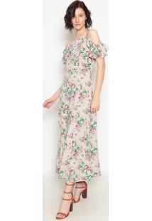 Vestido Longo Floral - Cinza & Rosa- Operateoperate
