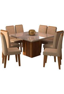 Conjunto De 8 Cadeiras Para Sala De Jantar 130X130 Ana/Tais-Cimol - Savana / Offwhite / Caramelo