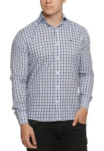 Camisa Alfaiataria Burguesia Quadriculada Azul/Preto/Branco