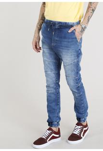 Calça Jeans Masculina Jogger Azul Escuro