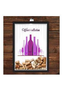 Quadro Caixa Porta Rolha De Vinho 33X43 Cm (Com Led) Lojaria E Nerderia. Vinhos Preto