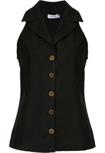 Isolda Regata Camisa Com Abotoamento - Preto