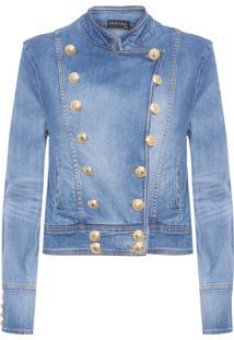 Jaqueta Feminina Jeans Militar - Azul