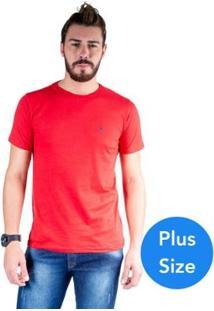 Camiseta Mister Fish Gola Careca Basic Top Hat Plus Size Masculina - Masculino-Vermelho